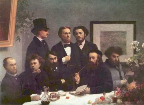 Verlaine y Rimbaud los primeros por la izquierda en este cuadro de Henri Fantin Latour