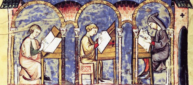 Scriptorium (Madrid, Biblioteca de San Lorenzo de El Escorial, 14th century).