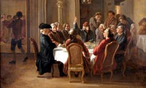 Cena de los filósofos filosofos-Jean Huber-1772. Aparecen Voltaire, Diderit, D'Alembert y Condorcet